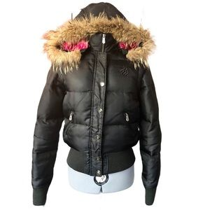 Rocawear Down Bomber Pink Lining Faux Fur Hood, S